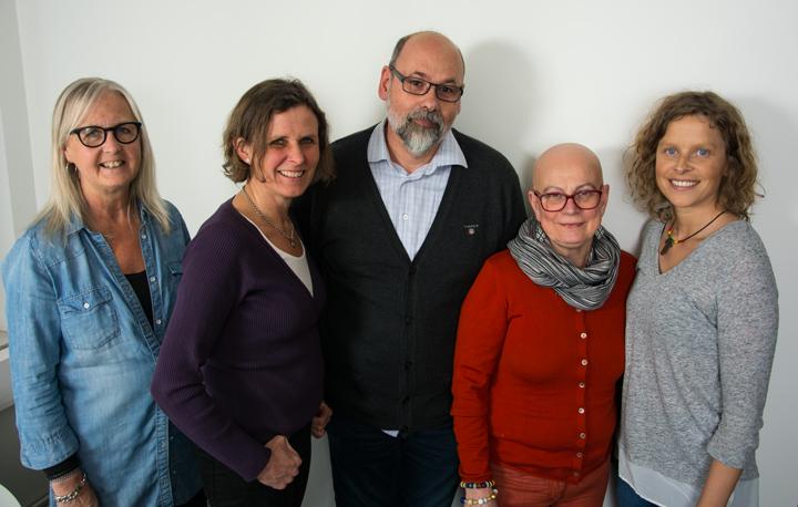 Fr v: Inga Johansson, Anna-Carin Persson Stenbeck, Emanuel Furbacken, Yvonne Göransson och Eva Kunda Neidek.