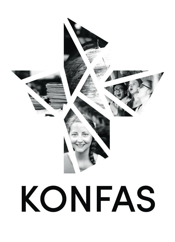 Konfas logotyp svartvit