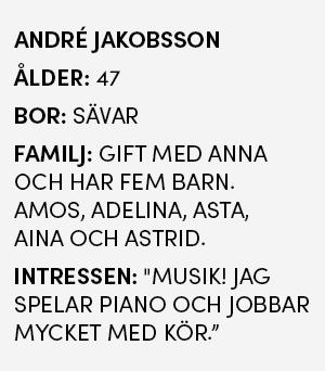 Faktaruta - André Jakobsson, 47 år, bor i Sävar, gift med Anna, fem barn